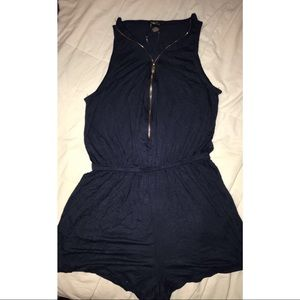Navy blue with gold zipper romper
